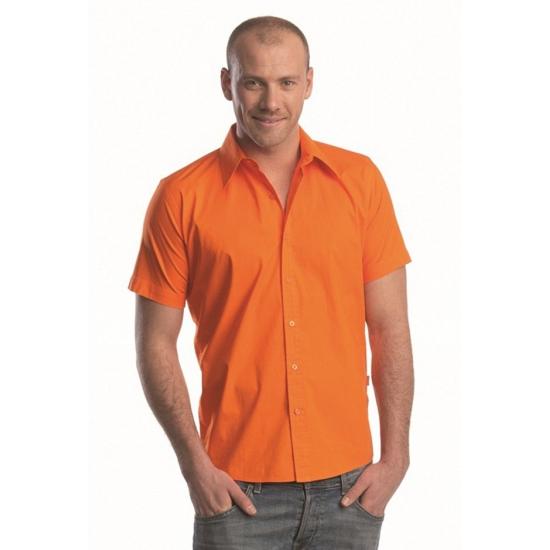 Oranje overhemd met korte mouwen