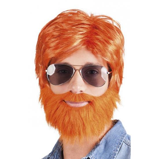 Oranje pruik met baard en snor