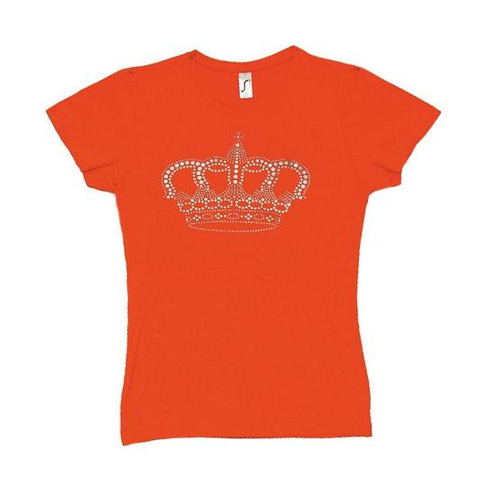 Oranje shirt dames met kroon