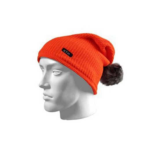 Image of Oranje ski muts met grijze pompon