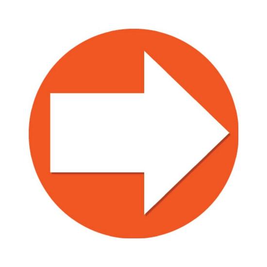 Oranje sticker met richtings pijl