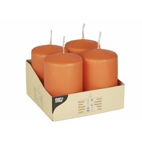 Image of Oranje versiering kaarsen rond 8 cm