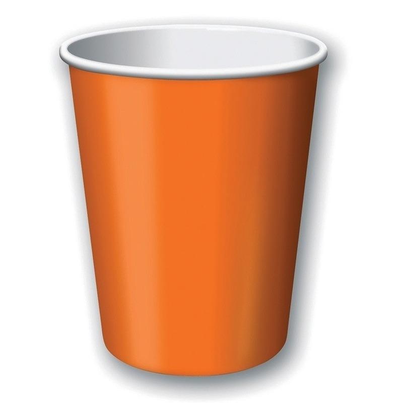Image of Oranje weggooi bekertjes 8 stuks