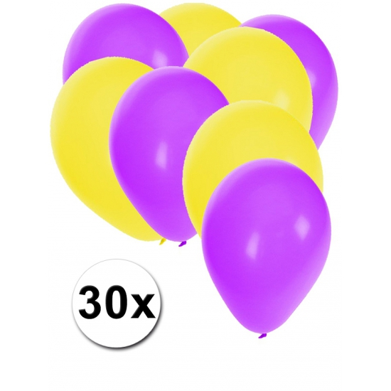 Image of Paarse en gele ballonnetjes 30 stuks