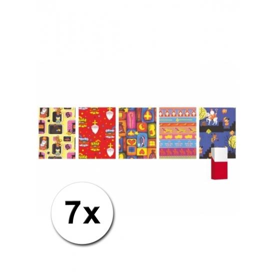 Image of Pakjesavond kadopapier Sinterklaas 7 stuks