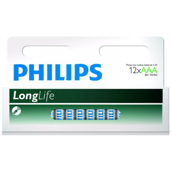 Pakket met 12 Philips long life AAA batterijen