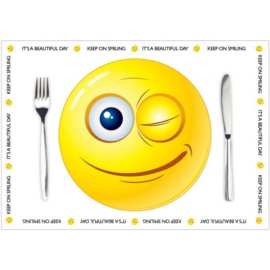 Image of Papieren placemats Smiley thema 10 stuks