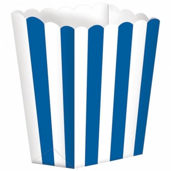 Image of Papieren popcorn bakjes blauw 5 stuks