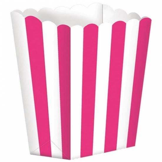 Image of Papieren popcorn bakjes fuchsia 5 stuks