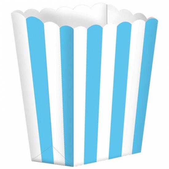 Image of Papieren popcorn bakjes lichtblauw 5 stuks