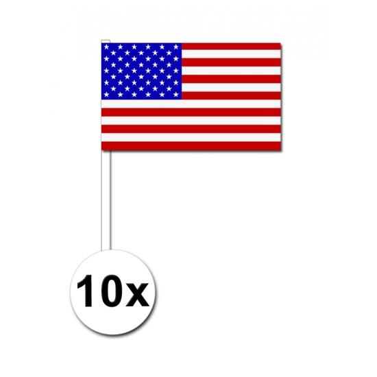 Image of Papieren zwaaivlaggetjes Amerika 10x