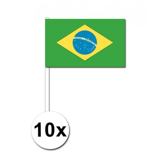 Image of Papieren zwaaivlaggetjes Brazilie 10x