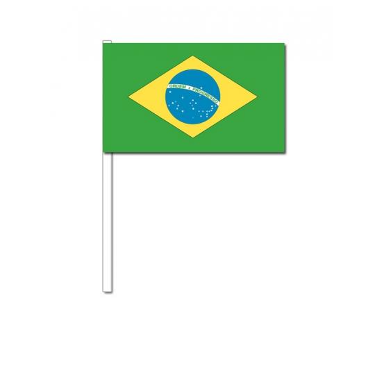Image of Papieren zwaaivlaggetjes Brazilie 12 x 24 cm