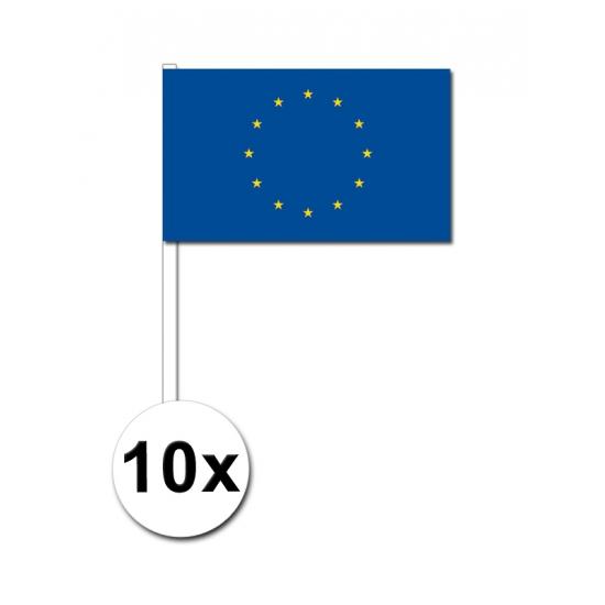 Image of Papieren zwaaivlaggetjes Europa 10x