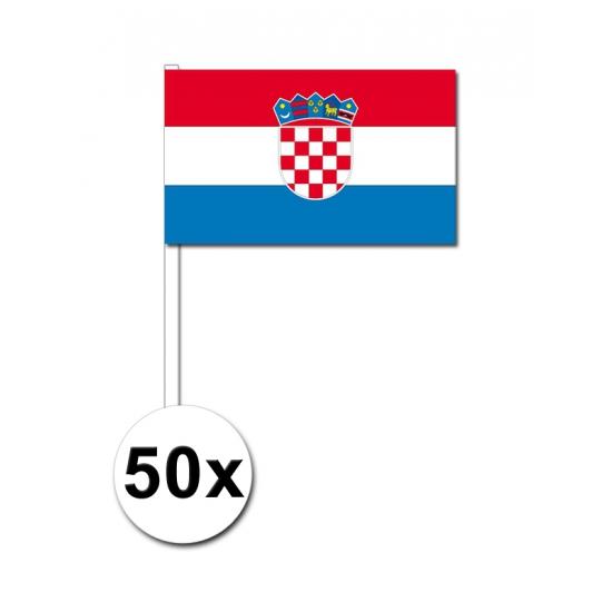 Image of Papieren zwaaivlaggetjes Kroatie 50x