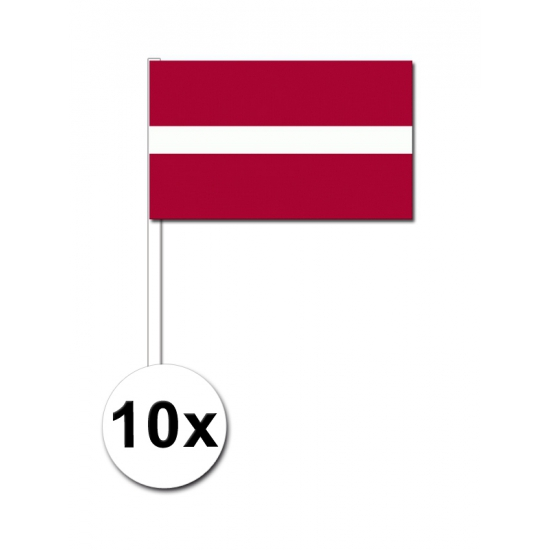Papieren zwaaivlaggetjes Letland 10x
