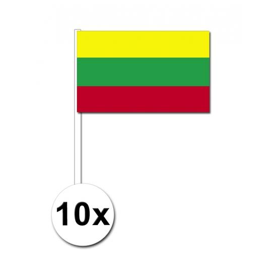 Papieren zwaaivlaggetjes Litouwen 10x