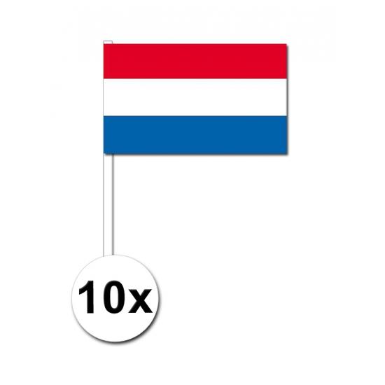 Papieren zwaaivlaggetjes Nederland 10x