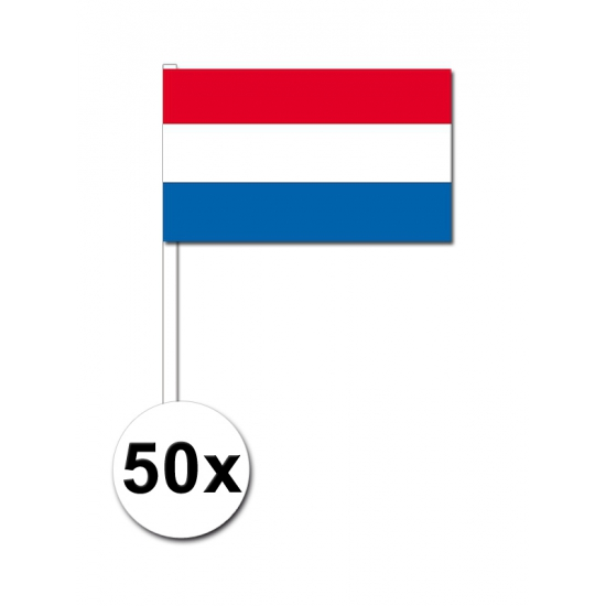 Papieren zwaaivlaggetjes Nederland 50x