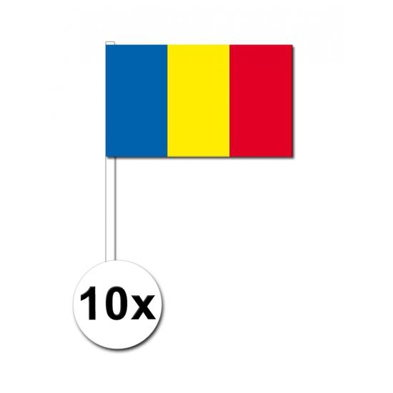 Image of Papieren zwaaivlaggetjes Roemenie 10x