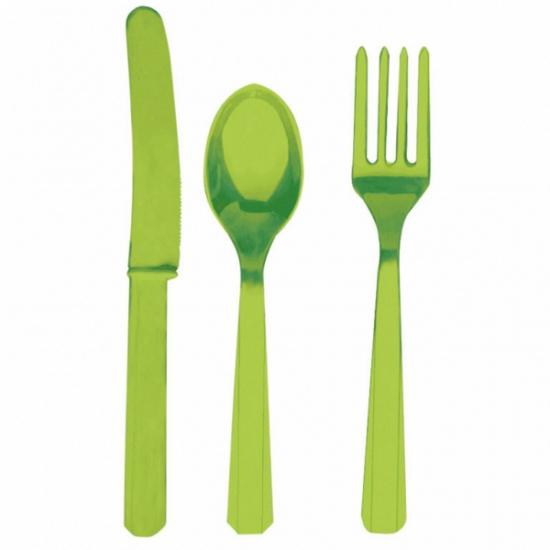 Image of Party bestek groen kleurig
