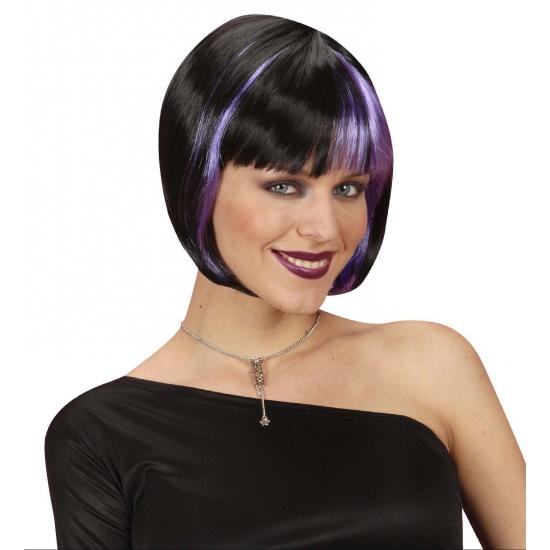 Image of Party pruik zwart met paarse accenten