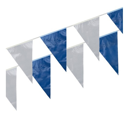 Image of Plastic buiten slinger blauw/wit