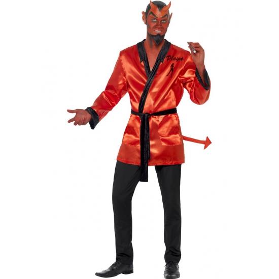 Duivelse player kostuum met masker. rood duivel kostuum, met player jasje, staart, half masker en baard....