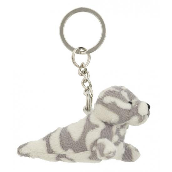 Image of Pluche gevlekte zeehond aan sleutelhanger 8,5 cm