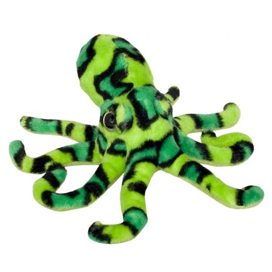 Image of Pluche octopus knuffel groen/zwart 25 cm