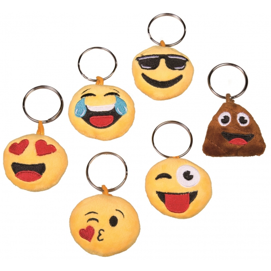 Image of Pluche smiley cool face sleutelhanger