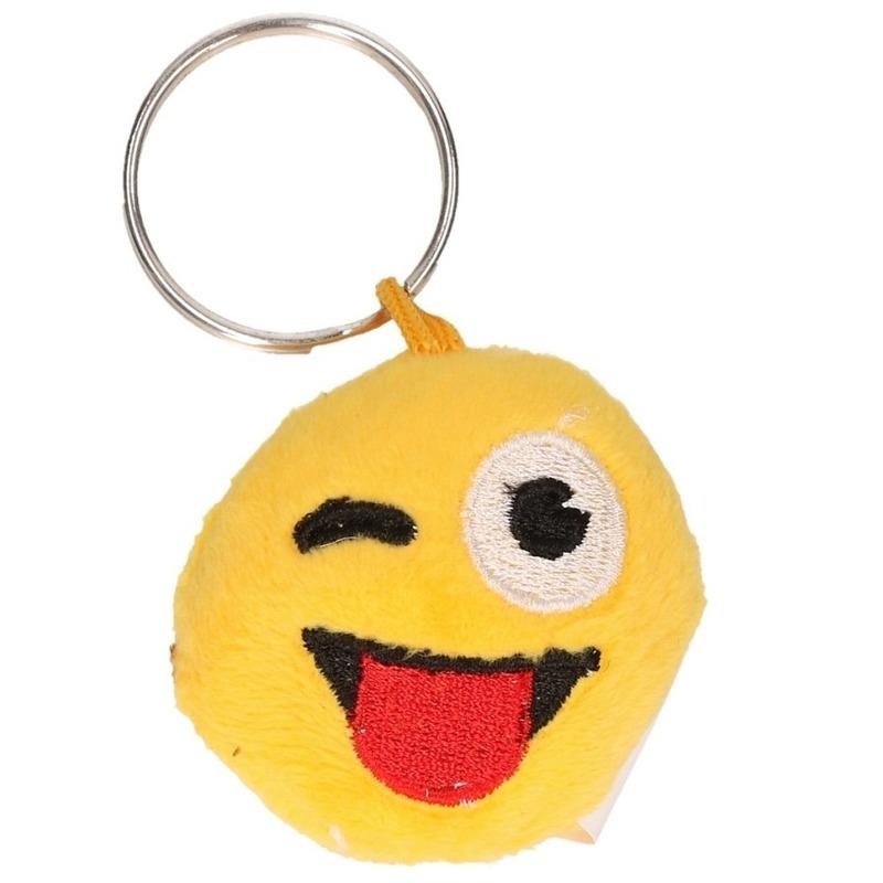 Image of Pluche smiley crazy face sleutelhanger
