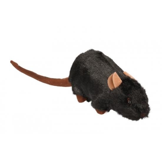 Image of Pluche zwarte rat knuffel 23 cm