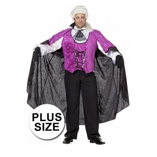 Grote maten vampier kostuum. dit vampieren pak is zwart met paarse kleurstelling bestaat uit de hes en de ...