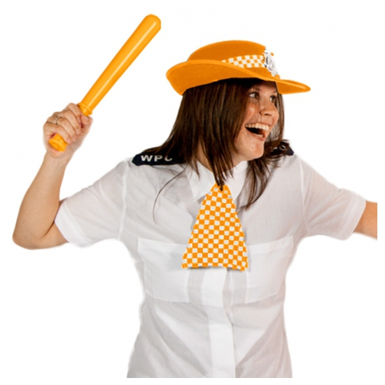 Politie hoed met das oranje