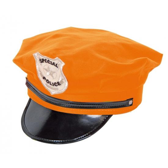 Politie petten in oranje kleur