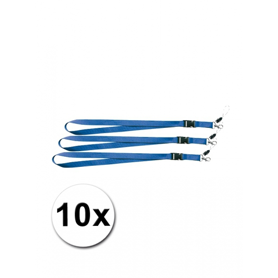 Polyester keycords blauw 10 stuks