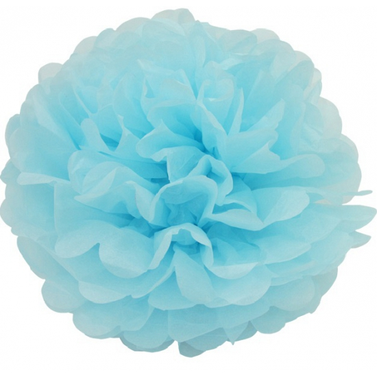Image of Pompom hangdecoratie turquoise 25 cm