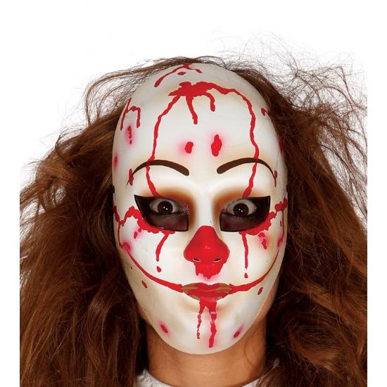 Image of Psycho clown masker met bloederig gezicht