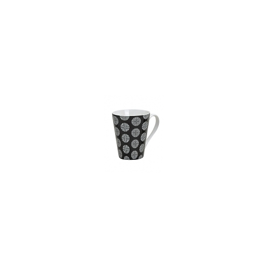 Image of Retro koffie mok rondjes zwart 250 ml