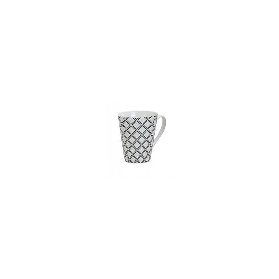 Image of Retro koffie mok ruitjes wit 250 ml