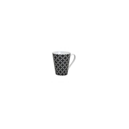 Image of Retro koffie mok ruitjes zwart 250 ml