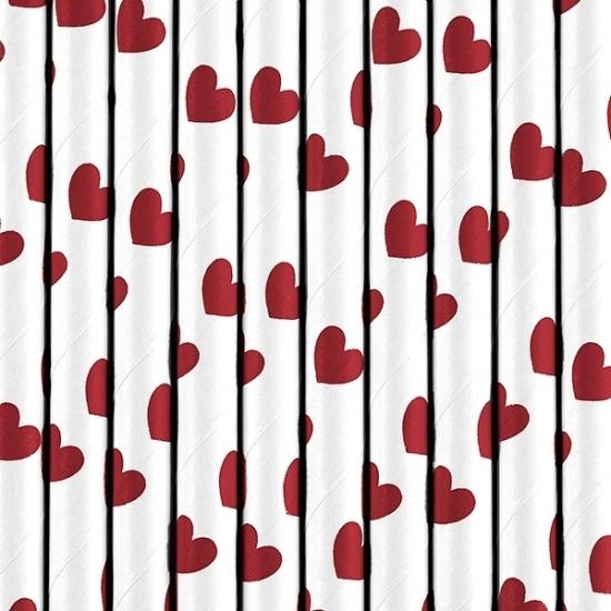 Image of Rietjes met rode hartjes 10 stuks