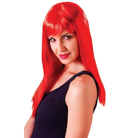 Image of Rode damespruik met froufrou