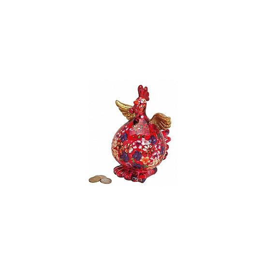 Image of Rode kip spaarpot met bloemen