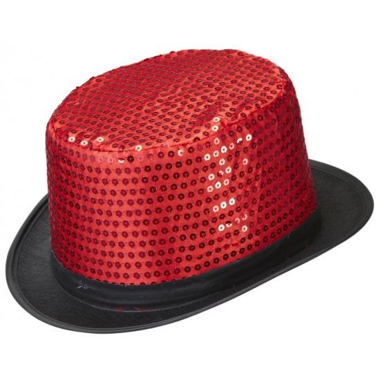 Image of Rode pailletten hoed met zwarte rand