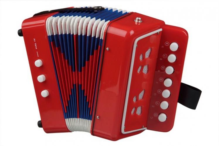 Rode speelgoed accordeon