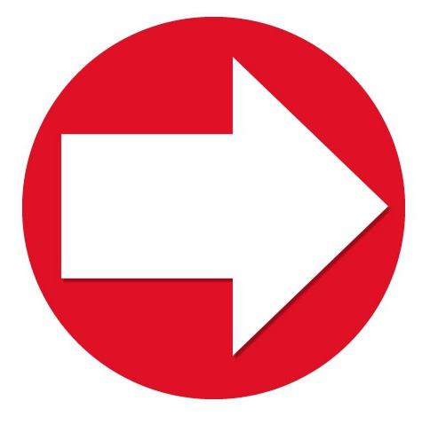 Image of Rode Sticker met richtings pijl