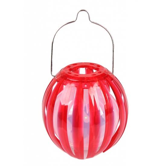 Image of Ronde solar lantaarn rood 11 cm