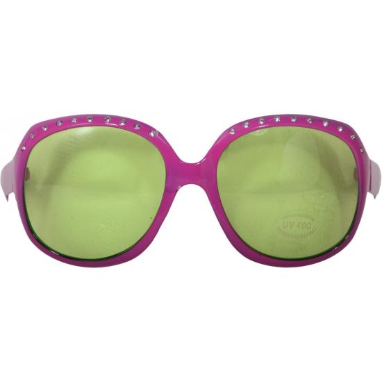 Image of Roze bril voor volwassenen met groene glazen en steentjes